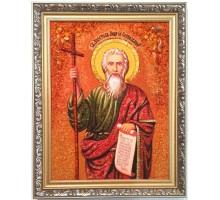Андрей Первозванный - именная икона из янтаря (ар-390)