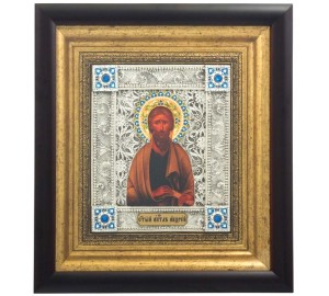 Апостол Андрій Первозванний - шикарна ікона, з сріблом (k-03)