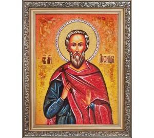 Святой Леонид Коринфский - именная икона из янтаря (ар-350)