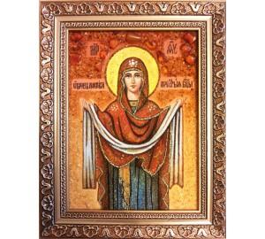Икона Божьей Матери Покрова - икона из янтаря (ар-243)