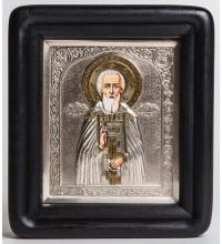 Святой Сергий Радонежский - писаная икона с серебром и позолотой (хм-15)
