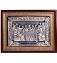 Таємна вечеря - красива ікона з сріблом, під склом (ЮО-09)