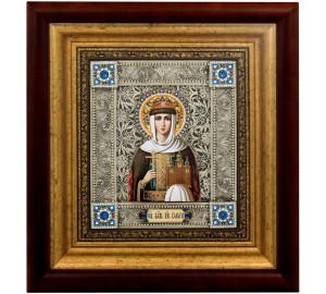 Икона Святая равноапостольная княгиня Ольга - именная икона, с серебром (k-20)