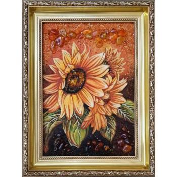 Картина ручной работы, из янтаря Подсолнухи (rb-53)