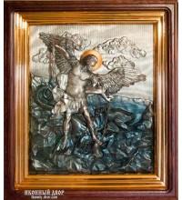 Архистратиг Михаил - шикарная икона с серебром, дубовый киот (ЮЛ-04)