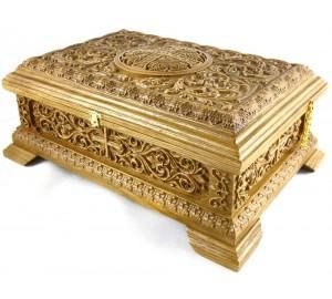 Ковчег дубовый, с резьбой, для святых мощей (rev-m-02)