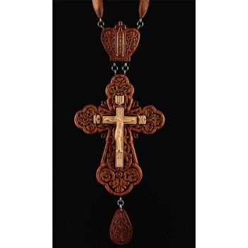 Красивый наградной крест, для священнослужителей, из красного дерева (Rev-k-№12)