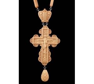 Красивый наградной крест с цепочкой, натуральное дерево (Rev-k-04)