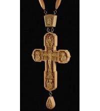 Крест наградной, с цепочкой, из натурального дерева (Rev-k-№10)