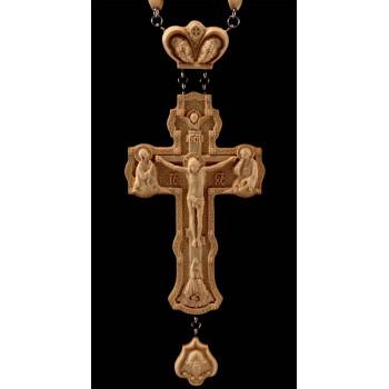 Нагородний хрест з ланцюгом, натуральне дерево (Rev-k-№5)