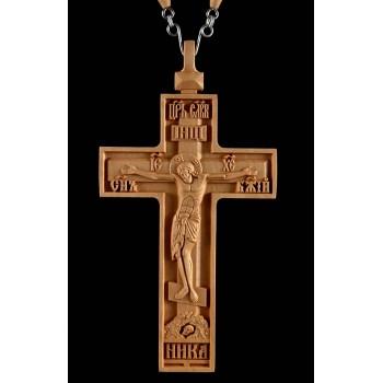 Крест наперсный протоиерейский, из дерева, с цепочкой (Rev-kpr-№3)
