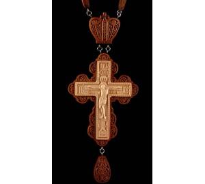Наградной крест из красного дерева, с резьбой (Rev-k-№6/2)