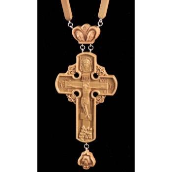 Нагородний хрест з ланцюгом, натуральне дерево (Rev-k-№3)