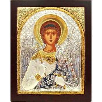 Ангел-Охоронець - Ікона з Греції прямокутної форми з сріблом та позолотою (EK172)