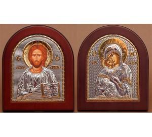 Венчальная пара Спаситель и Владимирская Богородица (GOLD)