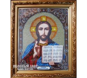 Ікона Спасителя Вседержителя - Ікона ручної роботи вишита бісером (бю-2)