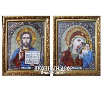 Вінчальна пара ікон, вишитих бісером - Ісус Христос і Божа Матір Казанська (бюп-3)