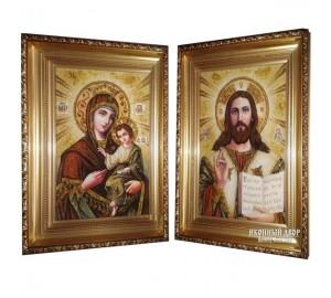 Вінчальна пара ікон із бурштину Спаситель і Божа Матір (арп-02)
