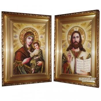 Венчальная пара янтарных икон Спаситель и Божья Матерь (арп-02)