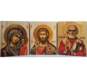Иконы под старину Господь Вседержитель, Казанская Богородица и Николай Чудотворец (ХМ-115)