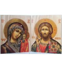 Венчальные иконы Господь Вседержитель и Казанская Богородица - иконы под старину (ХМ-112)