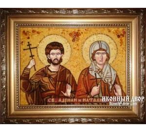 Адриан и Наталия - Икона ручной работы из янтаря (ар-111)