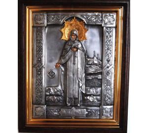 Агапит Печерский - икона с серебром, дубовый киот (ЮЛ-13)