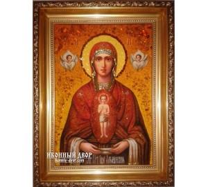 """Албазинская икона Божией Матери """"Слово плоть бысть"""" - икона Богородицы, из янтаря (ар-169)"""