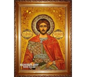Александр Невский - Качественная именная икона из янтаря (ар-26)