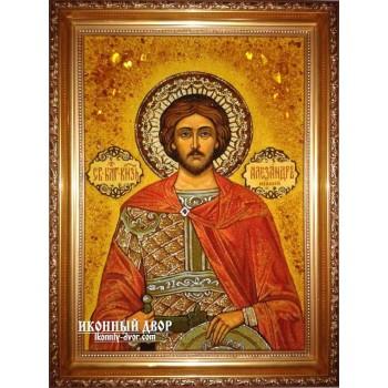 Олександр Невський - Якісна іменна ікона із бурштину (ар-26)
