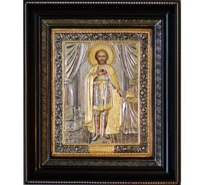 Александр Невский - Шикарная икона с серебром и позолотой (СФ-АН-04)