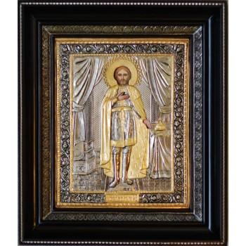 Олександр Невський - Шикарна ікона з сріблом та позолотою (СФ-АН-04)