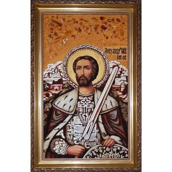 Александр Невский - янтарная икона (ар-355)