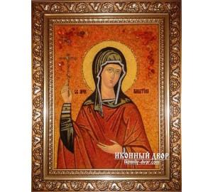 Алевтина (Валентина) - Красивая именная янтарная икона ручной работы (Алевтина)