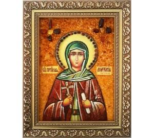 Анастасия Александрийская - именная икона из янтаря (ар-232)