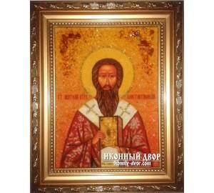 Анатолий Константинопольский - Красивая именная икона из янтаря (ар-140)