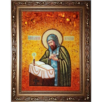 Анатолий Печерский - икона с янтарем (ар-70)