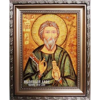 Андрей - Достойная именная икона из янтаря (Ар-81)