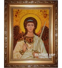 Ангел Хранитель - Чудова янтарна ікона ручної роботи (ар-105)