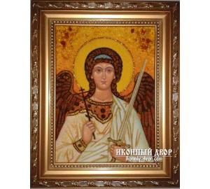 Ангел Хранитель - Чудесная янтарная икона ручной работы (ар-105)