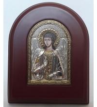 Ангел-Охоронець - ікона арочної форми з сріблом та позолотою (A-172XAG)