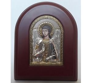 Ангел-Хранитель - икона арочной формы с серебром и позолотой (A-172XAG)