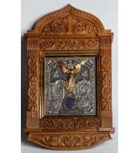 Ангел-Охоронець - ікона з сріблом в дубовому різьбленому кіоті (ЮО-02/1)