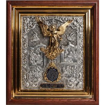 Ангел-Охоронець - ікона в красивому окладі з сріблом, кіот (ЮЛ-02)