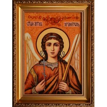 Ангел Хранитель - красивая янтарная икона ручной работы (ар-272)