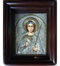 Ангел Хранитель - ікона Писана в окладі з сріблом (хм-35)