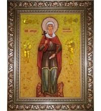 Анисия Солунская - икона из янтаря (ар-296)