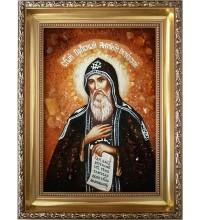 Антоний Печерский - икона из янтаря (ар-78)
