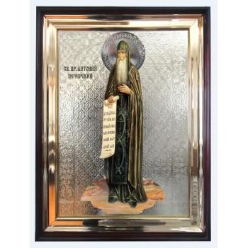 Антоний Печерский - икона в деревянном киоте под стеклом (л-02)