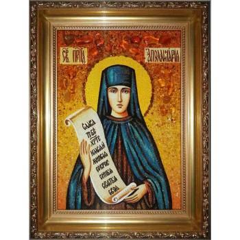 Аполлинария - икона с янтарем (ар-59)